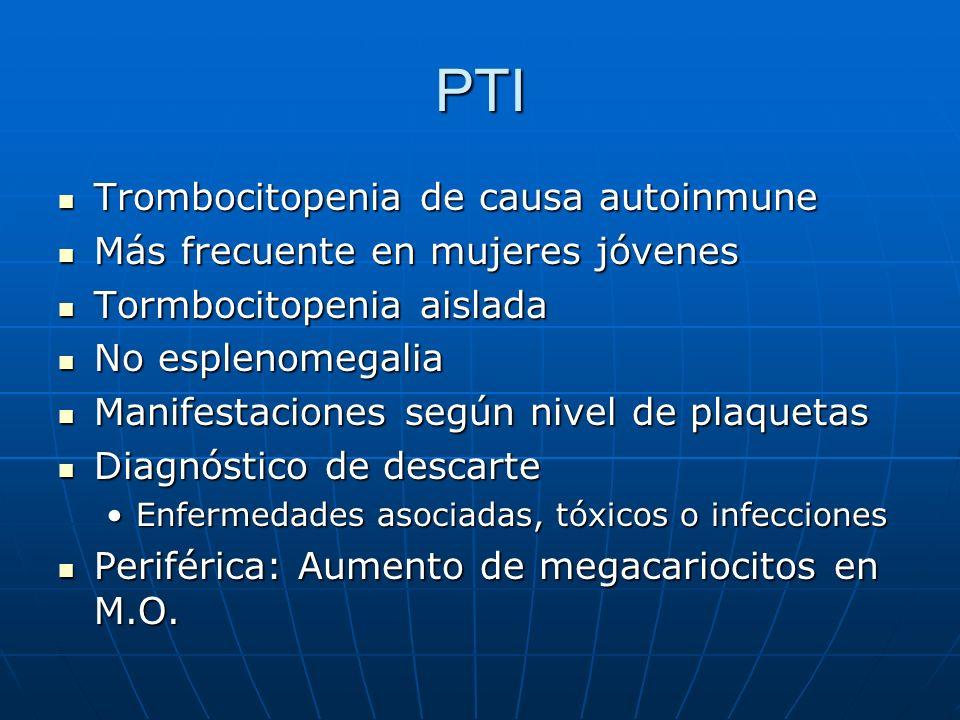 PTI Trombocitopenia de causa autoinmune Trombocitopenia de causa autoinmune Más frecuente en mujeres jóvenes Más frecuente en mujeres jóvenes Tormboci