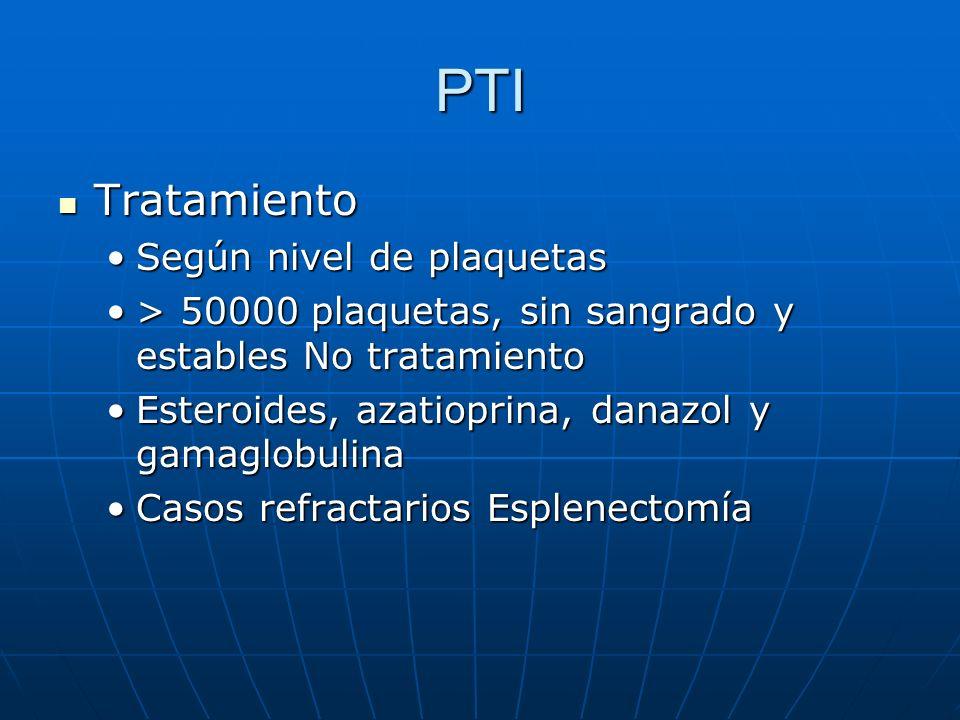 PTI Tratamiento Tratamiento Según nivel de plaquetasSegún nivel de plaquetas > 50000 plaquetas, sin sangrado y estables No tratamiento> 50000 plaqueta