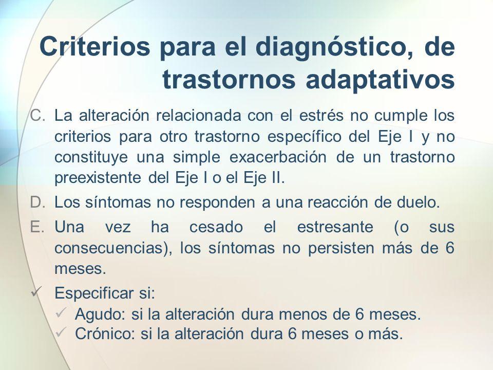 Criterios para el diagnóstico, de trastornos adaptativos C.La alteración relacionada con el estrés no cumple los criterios para otro trastorno específ