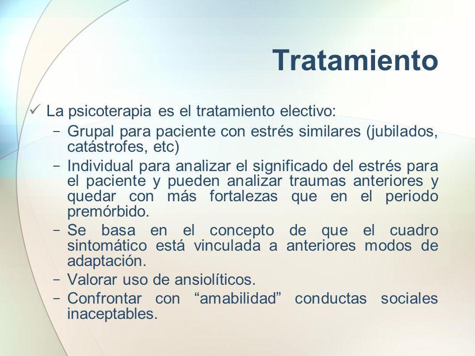 Tratamiento La psicoterapia es el tratamiento electivo: Grupal para paciente con estrés similares (jubilados, catástrofes, etc) Individual para analiz