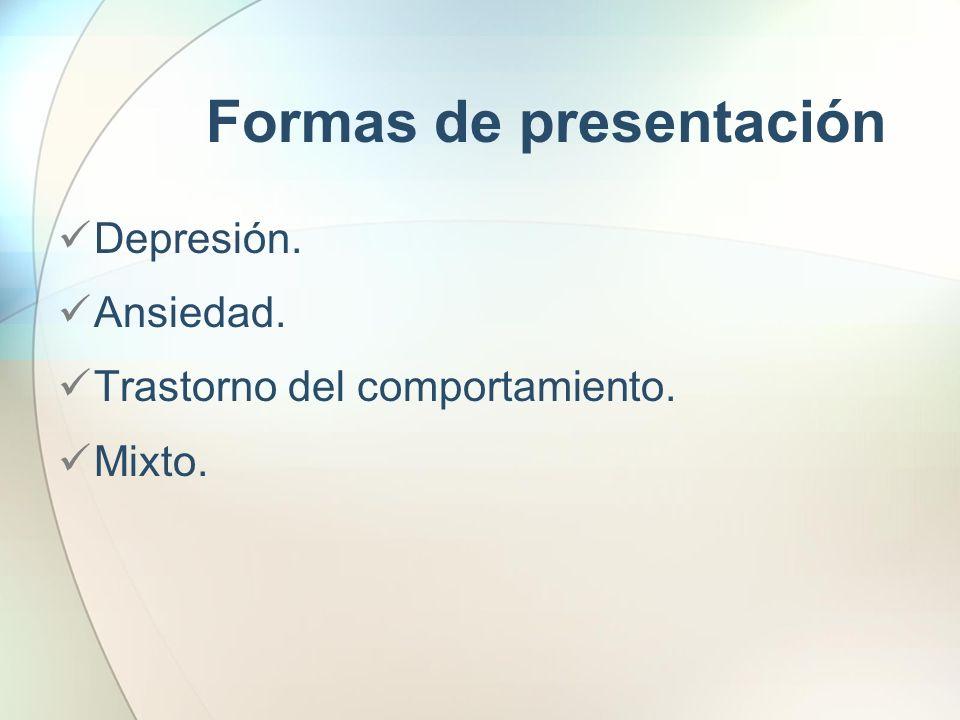 Formas de presentación Depresión. Ansiedad. Trastorno del comportamiento. Mixto.