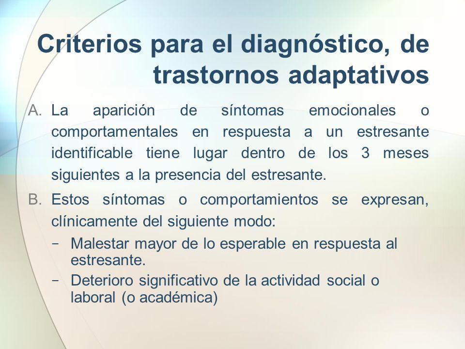Criterios para el diagnóstico, de trastornos adaptativos C.La alteración relacionada con el estrés no cumple los criterios para otro trastorno específico del Eje I y no constituye una simple exacerbación de un trastorno preexistente del Eje I o el Eje II.