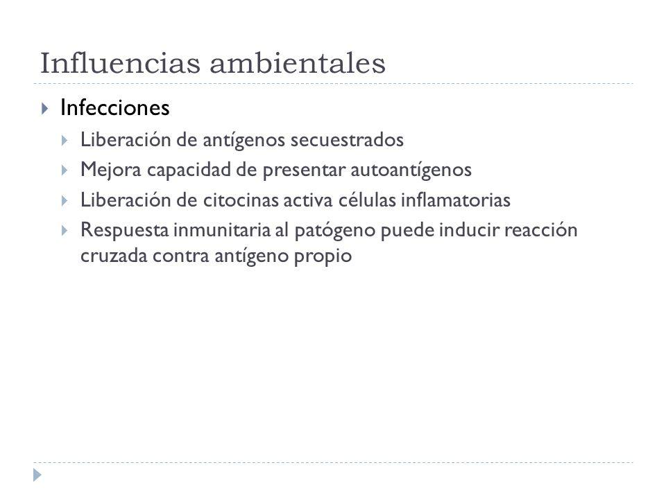 Influencias ambientales Infecciones Liberación de antígenos secuestrados Mejora capacidad de presentar autoantígenos Liberación de citocinas activa cé