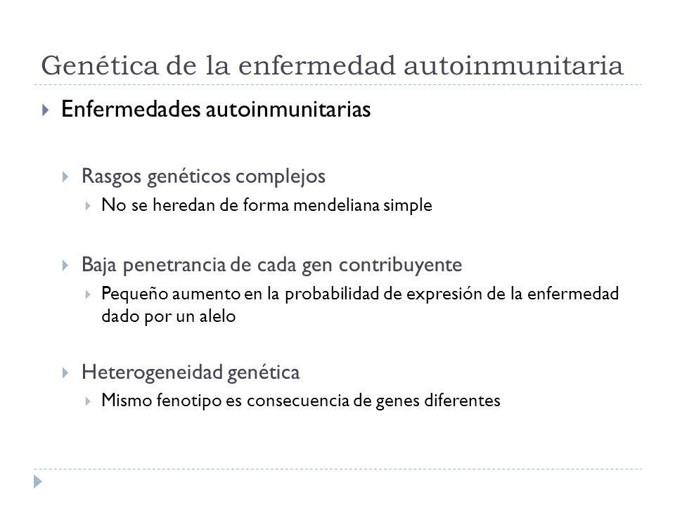 Genética de la enfermedad autoinmunitaria Enfermedades autoinmunitarias Rasgos genéticos complejos No se heredan de forma mendeliana simple Baja penet