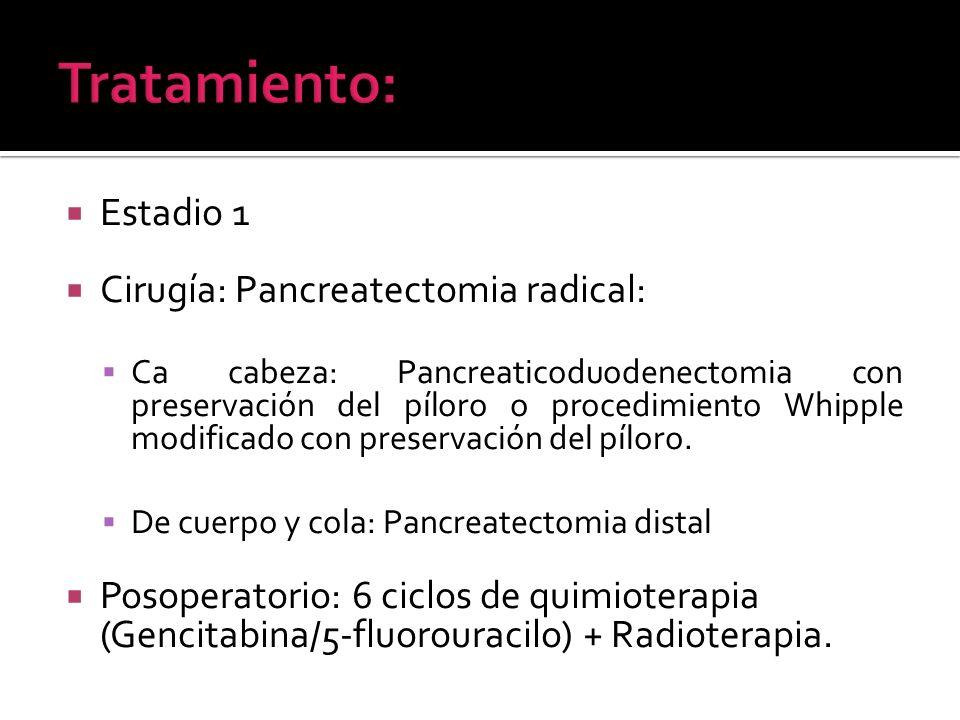 Estadio 1 Cirugía: Pancreatectomia radical: Ca cabeza: Pancreaticoduodenectomia con preservación del píloro o procedimiento Whipple modificado con pre