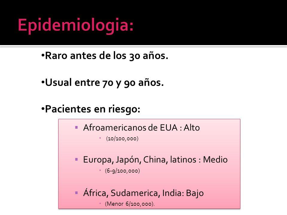 Afroamericanos de EUA : Alto (10/100,000) Europa, Japón, China, latinos : Medio (6-9/100,000) África, Sudamerica, India: Bajo (Menor 6/100,000). Afroa