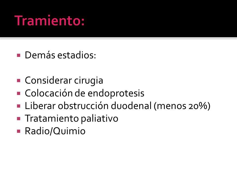 Demás estadios: Considerar cirugia Colocación de endoprotesis Liberar obstrucción duodenal (menos 20%) Tratamiento paliativo Radio/Quimio