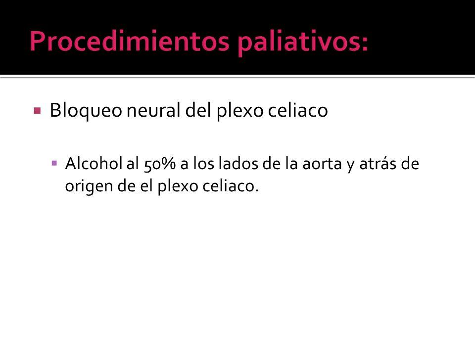 Bloqueo neural del plexo celiaco Alcohol al 50% a los lados de la aorta y atrás de origen de el plexo celiaco.