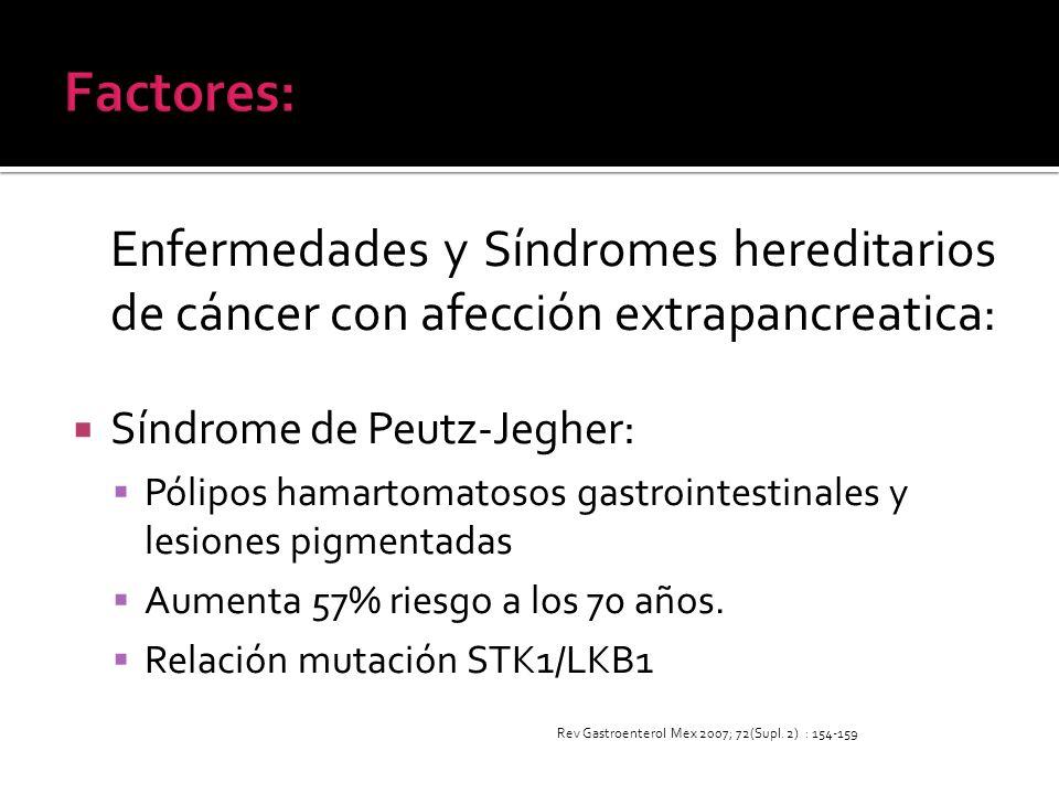 Enfermedades y Síndromes hereditarios de cáncer con afección extrapancreatica: Síndrome de Peutz-Jegher: Pólipos hamartomatosos gastrointestinales y l