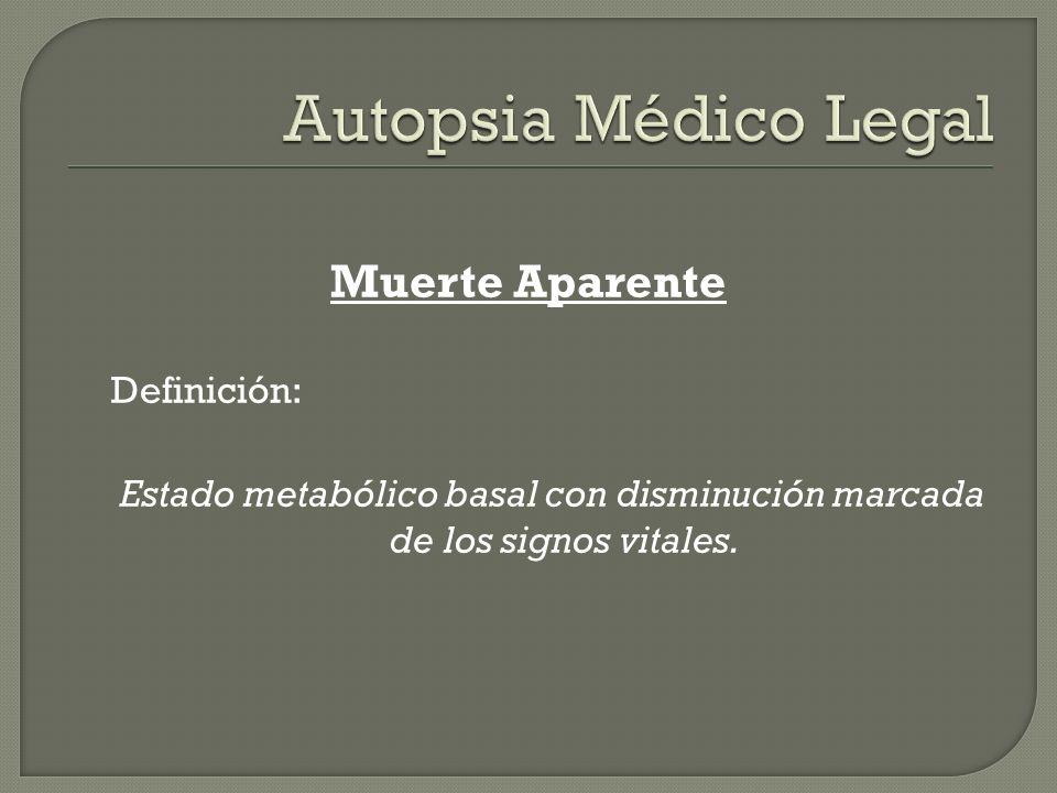 Muerte Aparente Definición: Estado metabólico basal con disminución marcada de los signos vitales.
