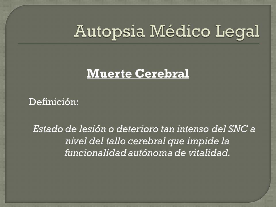 Muerte Cerebral Definición: Estado de lesión o deterioro tan intenso del SNC a nivel del tallo cerebral que impide la funcionalidad autónoma de vitali