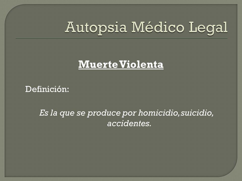 Muerte Violenta Definición: Es la que se produce por homicidio, suicidio, accidentes.