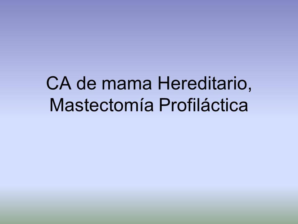 CA de mama Hereditario, Mastectomía Profiláctica