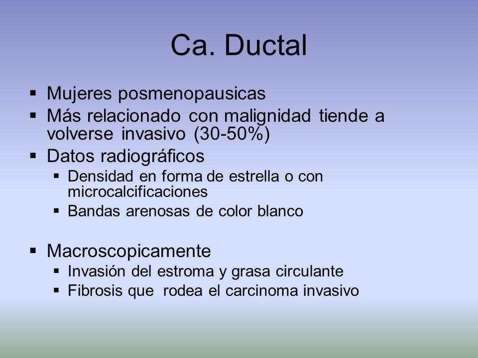 Ca. Ductal Mujeres posmenopausicas Más relacionado con malignidad tiende a volverse invasivo (30-50%) Datos radiográficos Densidad en forma de estrell