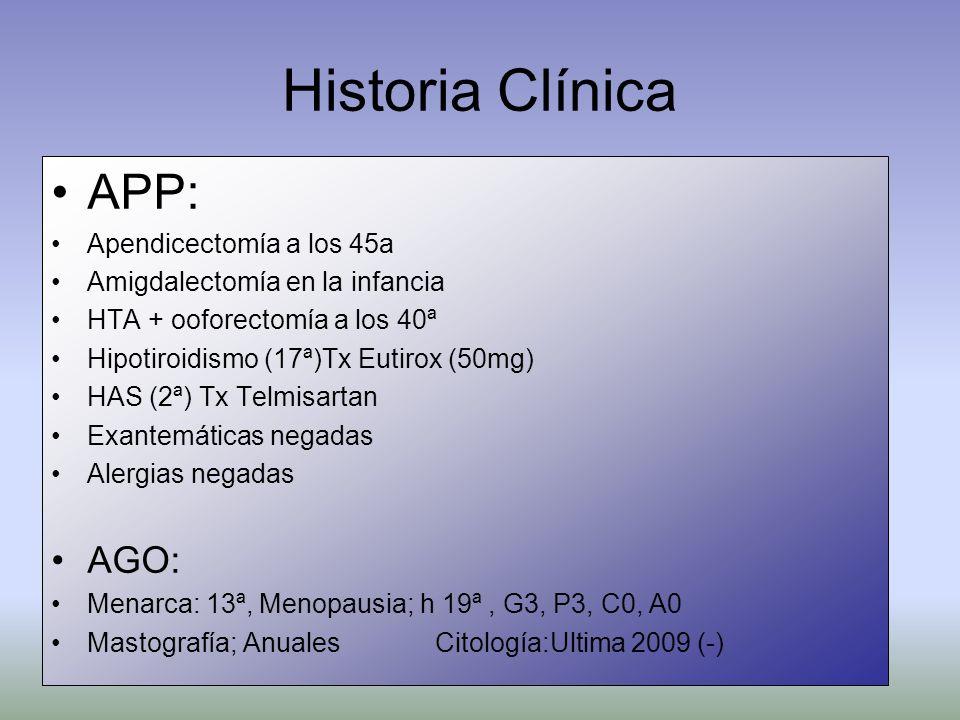 Historia Clínica APP: Apendicectomía a los 45a Amigdalectomía en la infancia HTA + ooforectomía a los 40ª Hipotiroidismo (17ª)Tx Eutirox (50mg) HAS (2