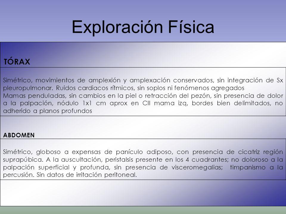 Exploración Física TÓRAX Simétrico, movimientos de amplexión y amplexación conservados, sin integración de Sx pleuropulmonar. Ruidos cardiacos rítmico