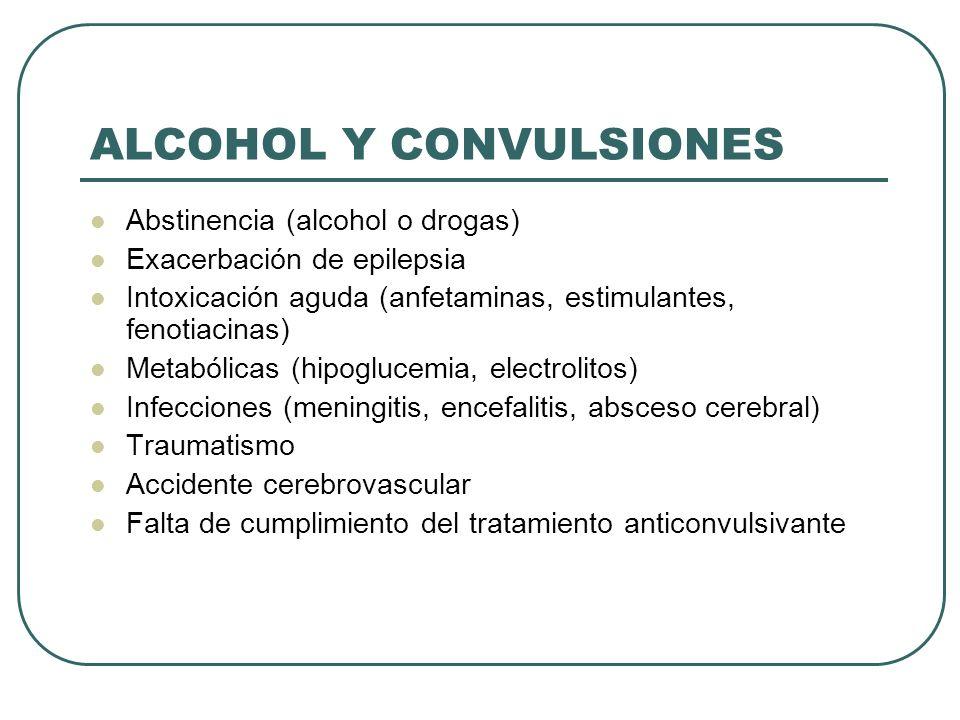 ALCOHOL Y CONVULSIONES Abstinencia (alcohol o drogas) Exacerbación de epilepsia Intoxicación aguda (anfetaminas, estimulantes, fenotiacinas) Metabólicas (hipoglucemia, electrolitos) Infecciones (meningitis, encefalitis, absceso cerebral) Traumatismo Accidente cerebrovascular Falta de cumplimiento del tratamiento anticonvulsivante