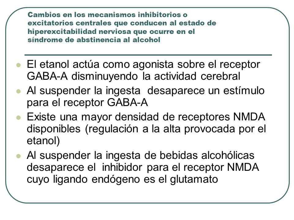 Cambios en los mecanismos inhibitorios o excitatorios centrales que conducen al estado de hiperexcitabilidad nerviosa que ocurre en el síndrome de abstinencia al alcohol El etanol actúa como agonista sobre el receptor GABA-A disminuyendo la actividad cerebral Al suspender la ingesta desaparece un estímulo para el receptor GABA-A Existe una mayor densidad de receptores NMDA disponibles (regulación a la alta provocada por el etanol) Al suspender la ingesta de bebidas alcohólicas desaparece el inhibidor para el receptor NMDA cuyo ligando endógeno es el glutamato