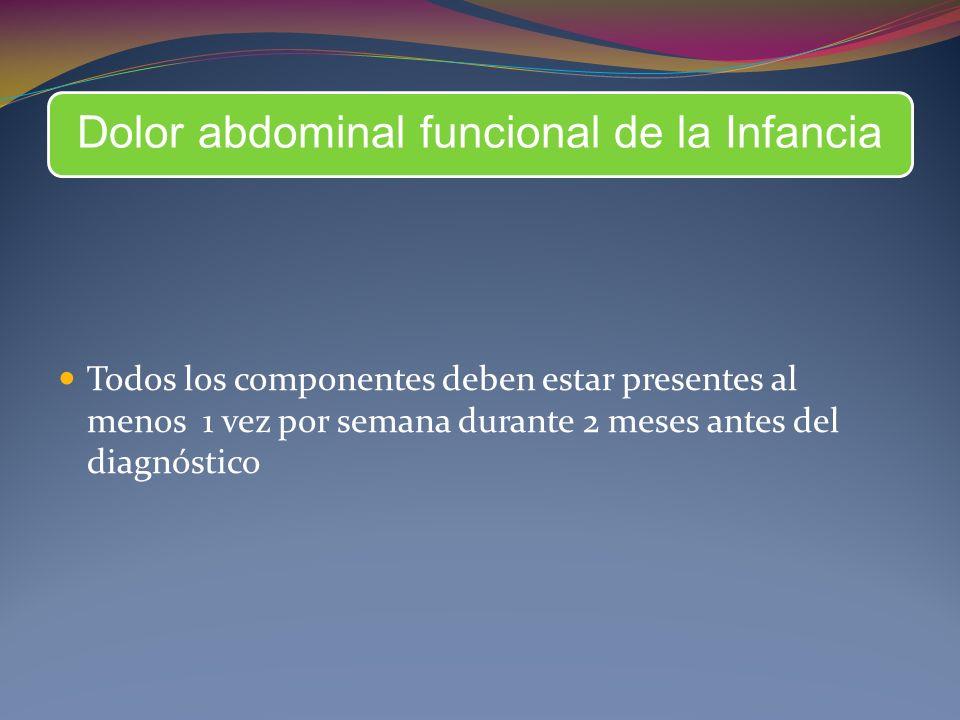 Dolor abdominal funcional de la Infancia Todos los componentes deben estar presentes al menos 1 vez por semana durante 2 meses antes del diagnóstico