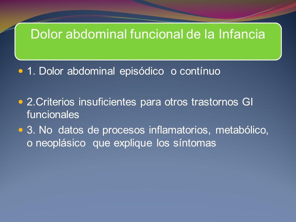 Dolor abdominal funcional de la Infancia 1. Dolor abdominal episódico o contínuo 2.Criterios insuficientes para otros trastornos GI funcionales 3. No
