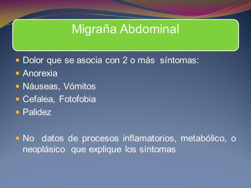 Migraña Abdominal Dolor que se asocia con 2 o más síntomas: Anorexia Náuseas, Vómitos Cefalea, Fotofobia Palidez No datos de procesos inflamatorios, m