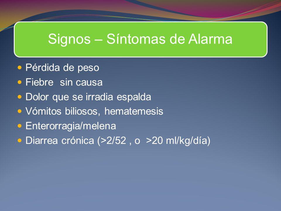 Signos – Síntomas de Alarma Pérdida de peso Fiebre sin causa Dolor que se irradia espalda Vómitos biliosos, hematemesis Enterorragia/melena Diarrea crónica (>2/52, o >20 ml/kg/día)