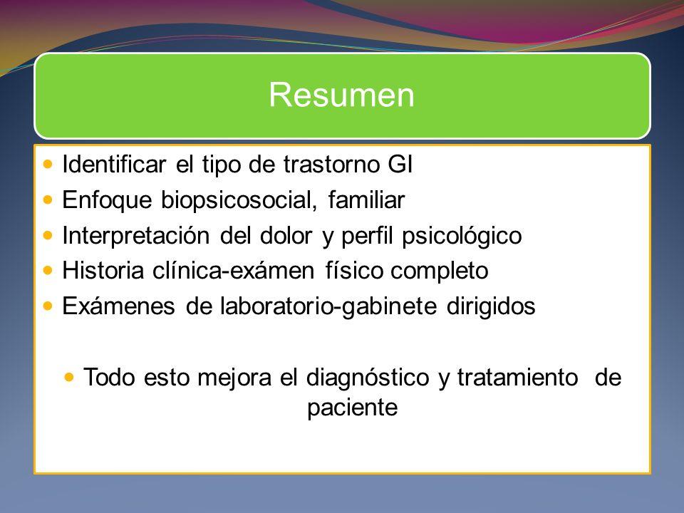 Resumen Identificar el tipo de trastorno GI Enfoque biopsicosocial, familiar Interpretación del dolor y perfil psicológico Historia clínica-exámen fís