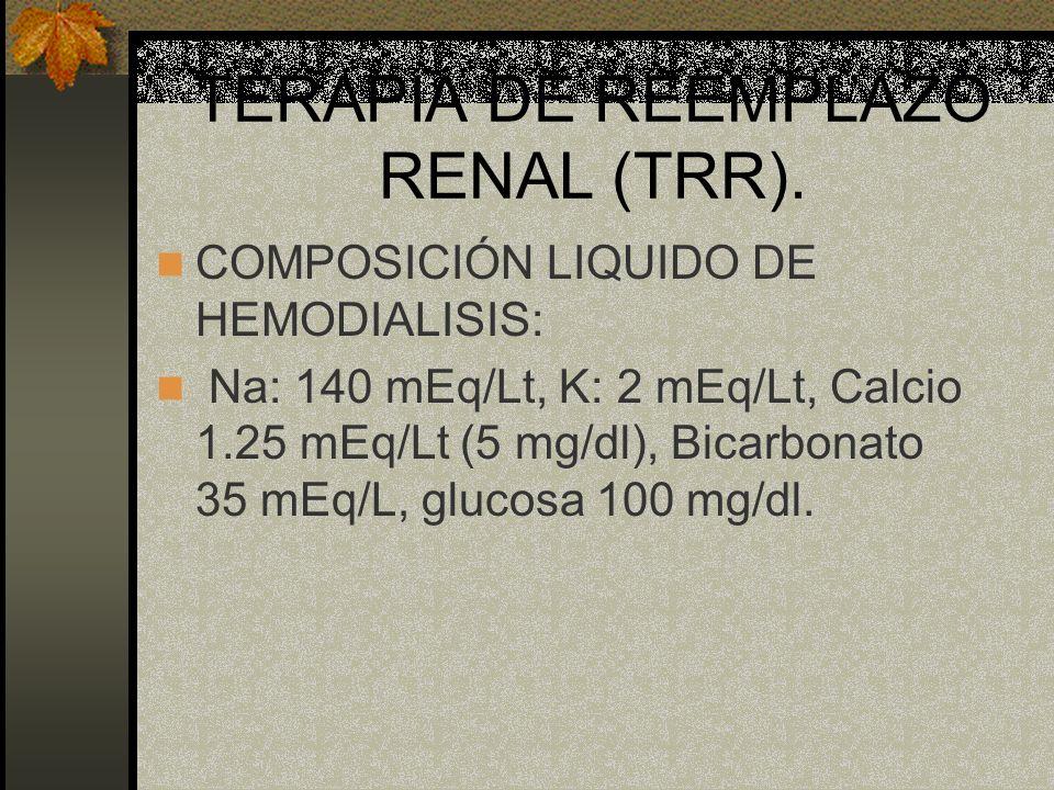 TERAPIA DE REEMPLAZO RENAL (TRR). COMPOSICIÓN LIQUIDO DE HEMODIALISIS: Na: 140 mEq/Lt, K: 2 mEq/Lt, Calcio 1.25 mEq/Lt (5 mg/dl), Bicarbonato 35 mEq/L