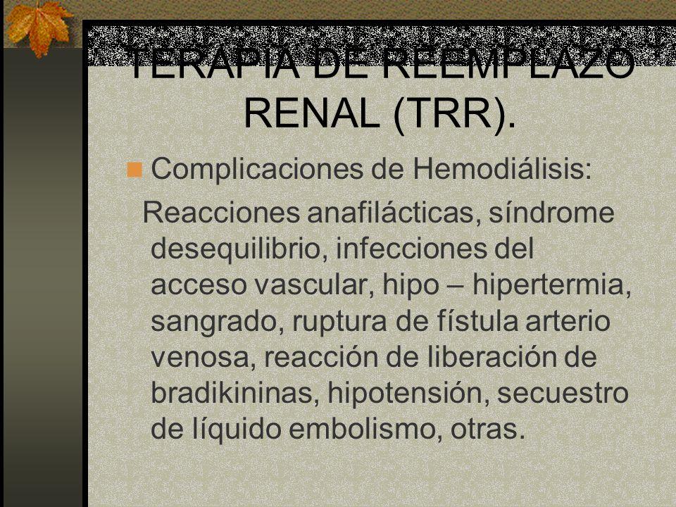 TERAPIA DE REEMPLAZO RENAL (TRR). Complicaciones de Hemodiálisis: Reacciones anafilácticas, síndrome desequilibrio, infecciones del acceso vascular, h