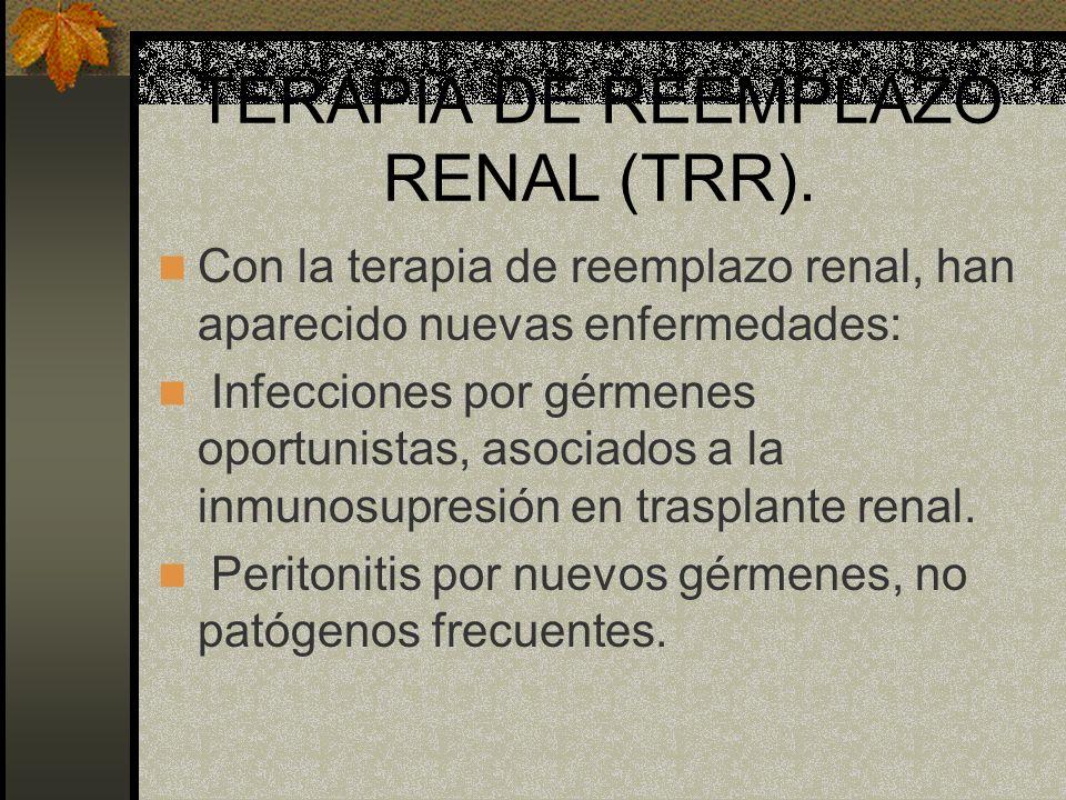 Con la terapia de reemplazo renal, han aparecido nuevas enfermedades: Infecciones por gérmenes oportunistas, asociados a la inmunosupresión en traspla