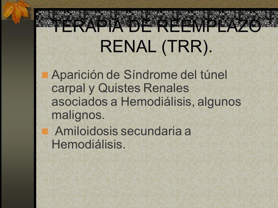 TERAPIA DE REEMPLAZO RENAL (TRR). Aparición de Síndrome del túnel carpal y Quistes Renales asociados a Hemodiálisis, algunos malignos. Amiloidosis sec
