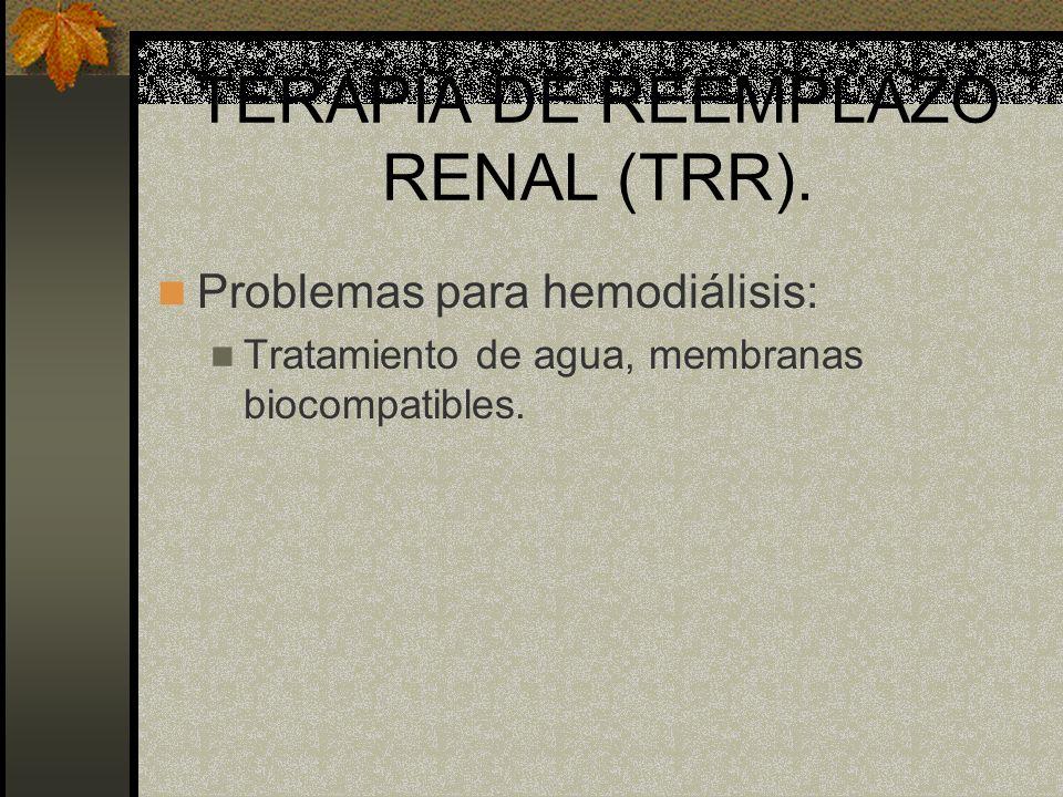 TERAPIA DE REEMPLAZO RENAL (TRR). Problemas para hemodiálisis: Tratamiento de agua, membranas biocompatibles.