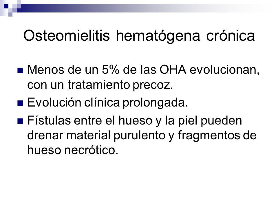 Osteomielitis hematógena crónica Menos de un 5% de las OHA evolucionan, con un tratamiento precoz. Evolución clínica prolongada. Fístulas entre el hue