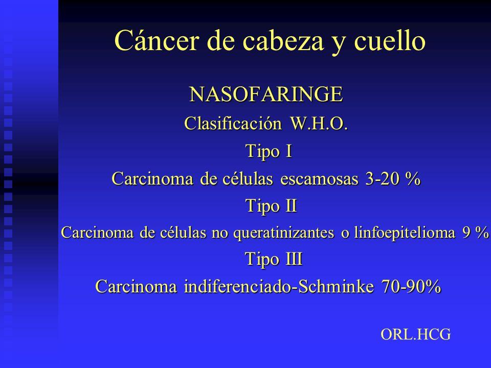 Cáncer de cabeza y cuello NASOFARINGE Clasificación W.H.O. Tipo I Tipo I Carcinoma de células escamosas 3-20 % Tipo II Tipo II Carcinoma de células no