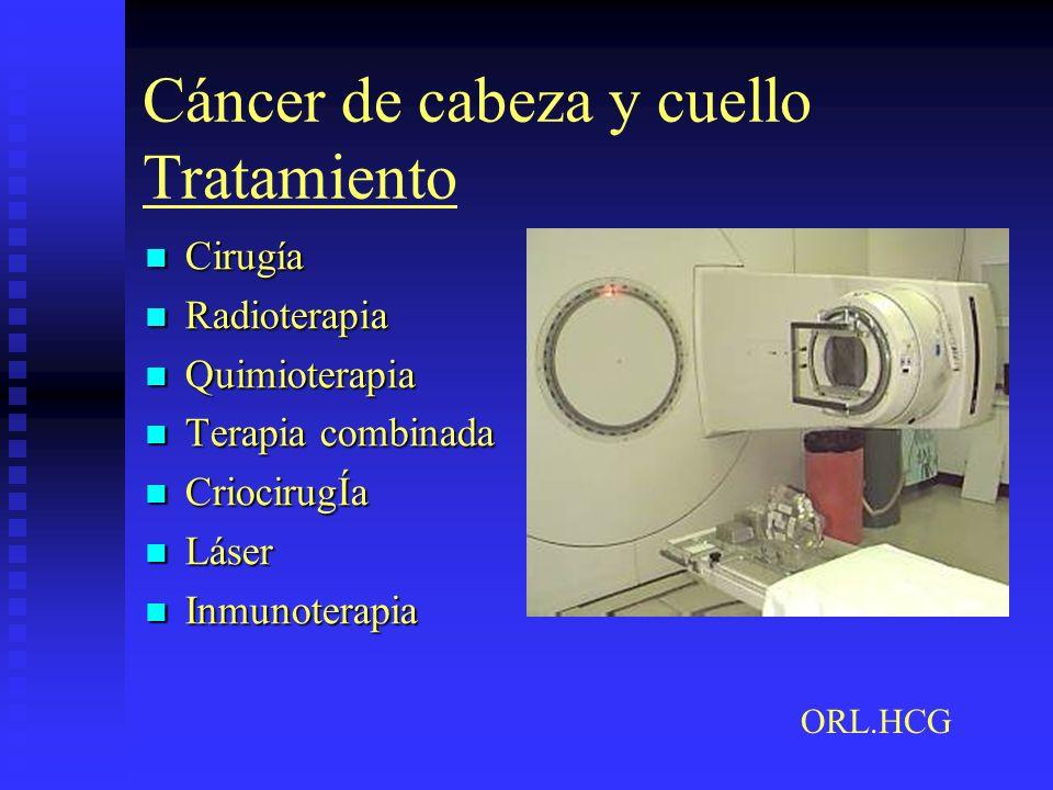 Cáncer de cabeza y cuello Tratamiento Cirugía Cirugía Radioterapia Radioterapia Quimioterapia Quimioterapia Terapia combinada Terapia combinada Crioci