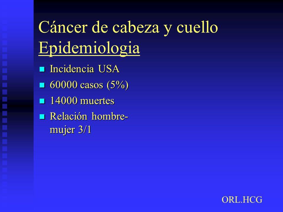 Cáncer de cabeza y cuello Epidemiologia Incidencia USA Incidencia USA 60000 casos (5%) 60000 casos (5%) 14000 muertes 14000 muertes Relación hombre- m