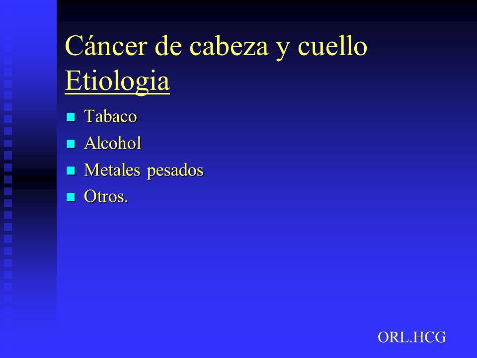 Cáncer de cabeza y cuello Etiologia Tabaco Tabaco Alcohol Alcohol Metales pesados Metales pesados Otros. Otros. ORL.HCG