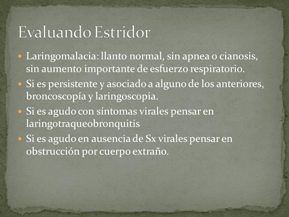 Laringomalacia: llanto normal, sin apnea o cianosis, sin aumento importante de esfuerzo respiratorio. Si es persistente y asociado a alguno de los ant