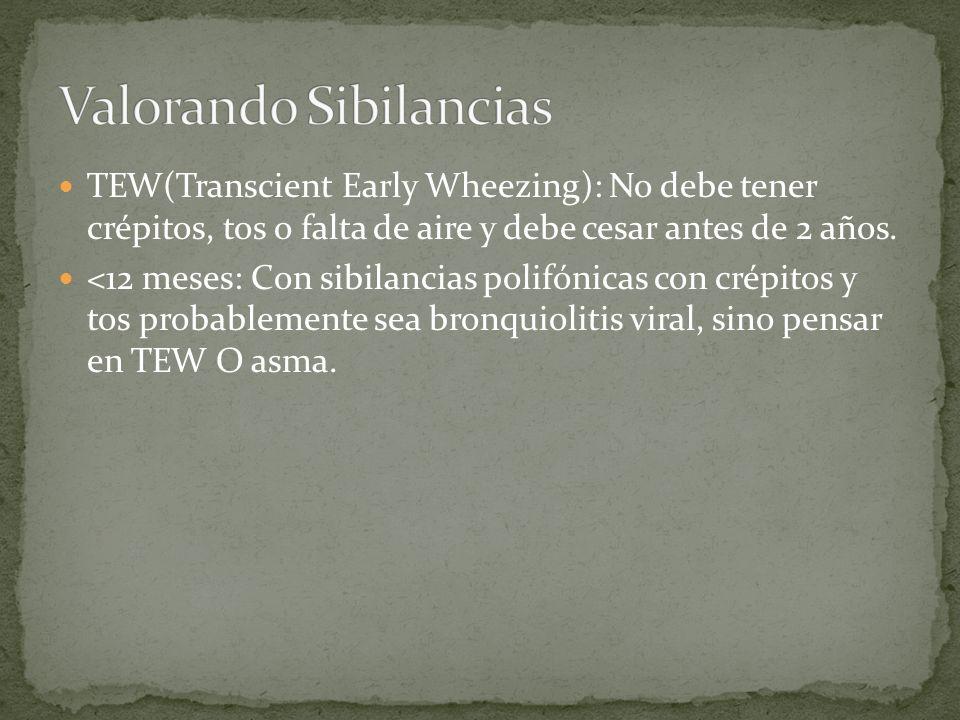 TEW(Transcient Early Wheezing): No debe tener crépitos, tos o falta de aire y debe cesar antes de 2 años. <12 meses: Con sibilancias polifónicas con c