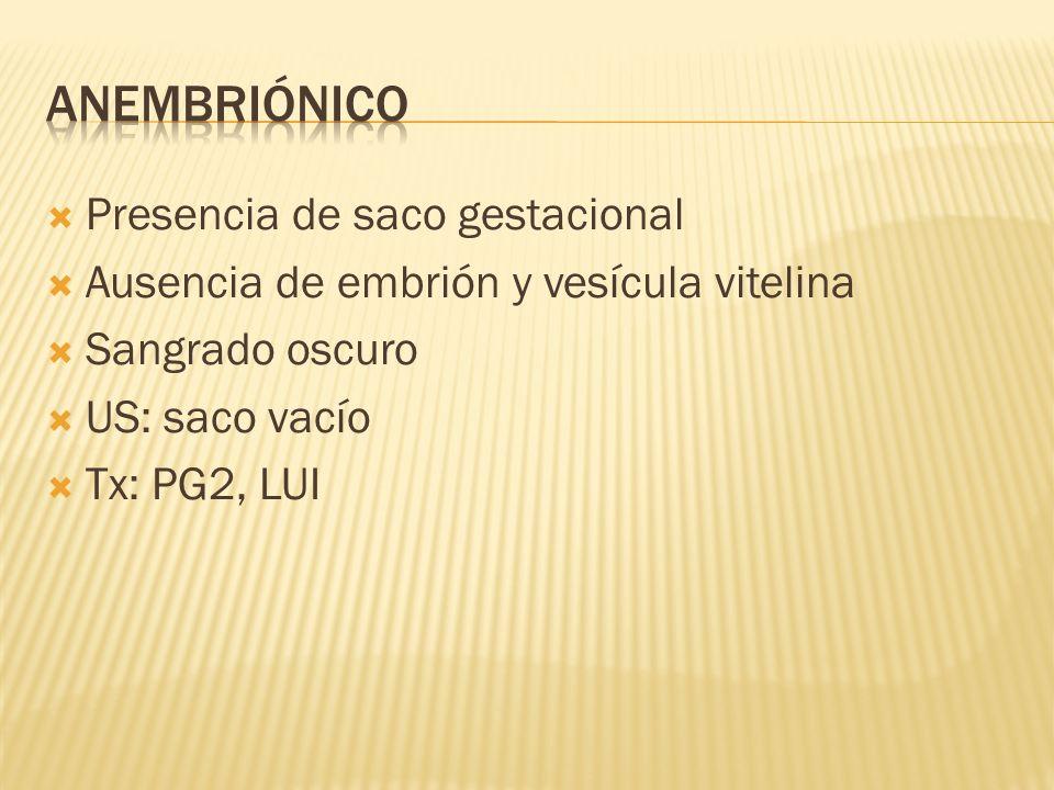 Presencia de saco gestacional Ausencia de embrión y vesícula vitelina Sangrado oscuro US: saco vacío Tx: PG2, LUI