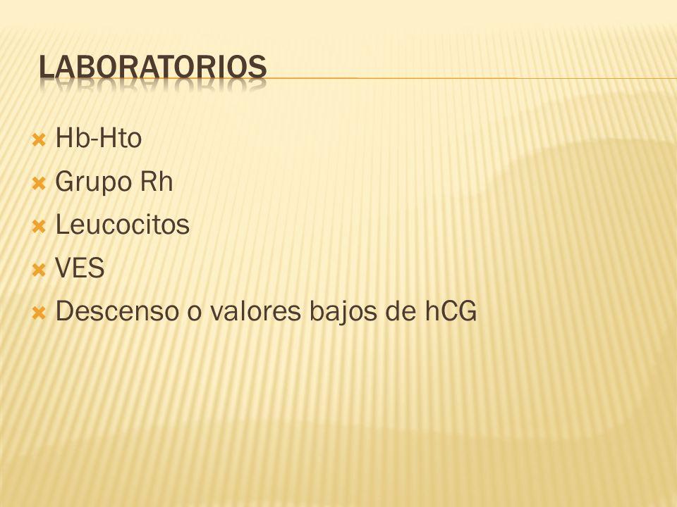 Hb-Hto Grupo Rh Leucocitos VES Descenso o valores bajos de hCG