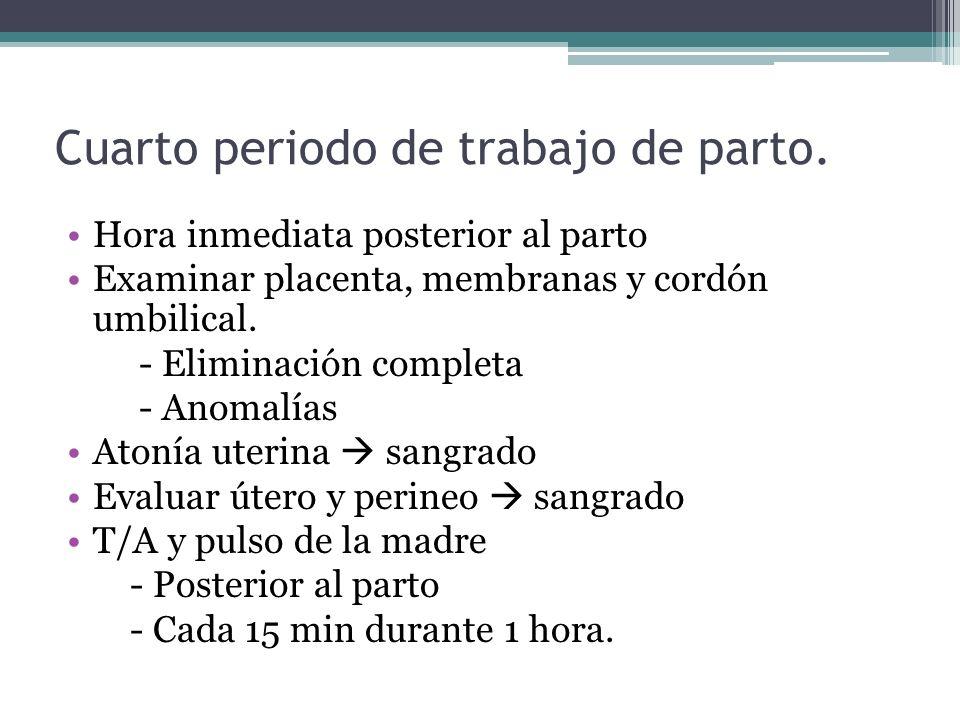 Cuarto periodo de trabajo de parto. Hora inmediata posterior al parto Examinar placenta, membranas y cordón umbilical. - Eliminación completa - Anomal
