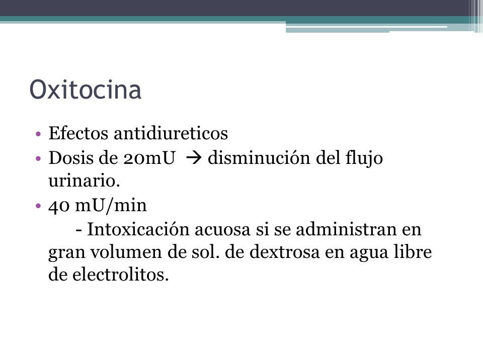 Oxitocina Efectos antidiureticos Dosis de 20mU disminución del flujo urinario. 40 mU/min - Intoxicación acuosa si se administran en gran volumen de so
