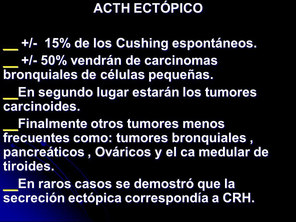 ACTH ECTÓPICO __ +/- 15% de los Cushing espontáneos. __ +/- 50% vendrán de carcinomas bronquiales de células pequeñas. __En segundo lugar estarán los