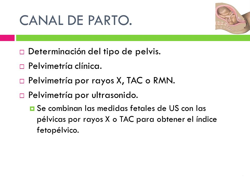 CANAL DE PARTO. Determinación del tipo de pelvis. Pelvimetría clínica. Pelvimetría por rayos X, TAC o RMN. Pelvimetría por ultrasonido. Se combinan la