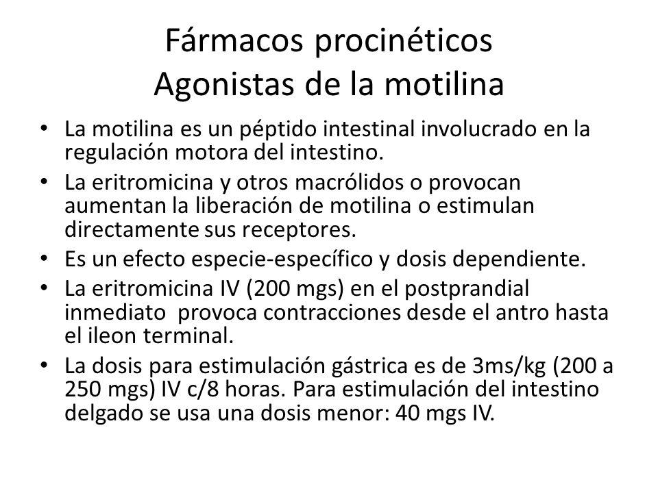 Fármacos procinéticos Agonistas de la motilina La motilina es un péptido intestinal involucrado en la regulación motora del intestino. La eritromicina