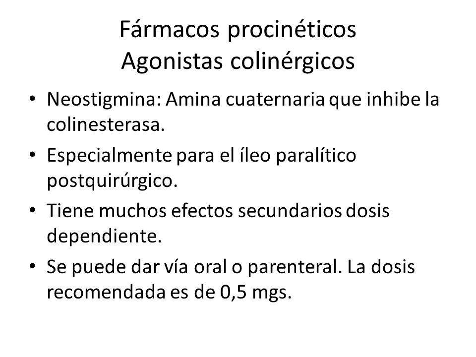 Fármacos procinéticos Agonistas colinérgicos Neostigmina: Amina cuaternaria que inhibe la colinesterasa. Especialmente para el íleo paralítico postqui
