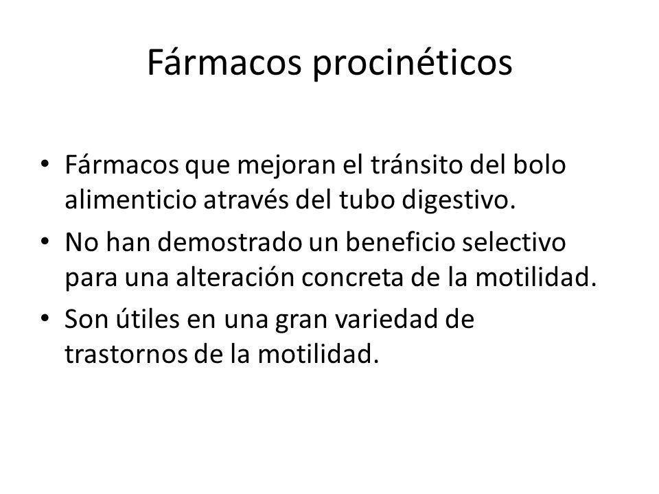 Fármacos procinéticos Fármacos que mejoran el tránsito del bolo alimenticio através del tubo digestivo. No han demostrado un beneficio selectivo para