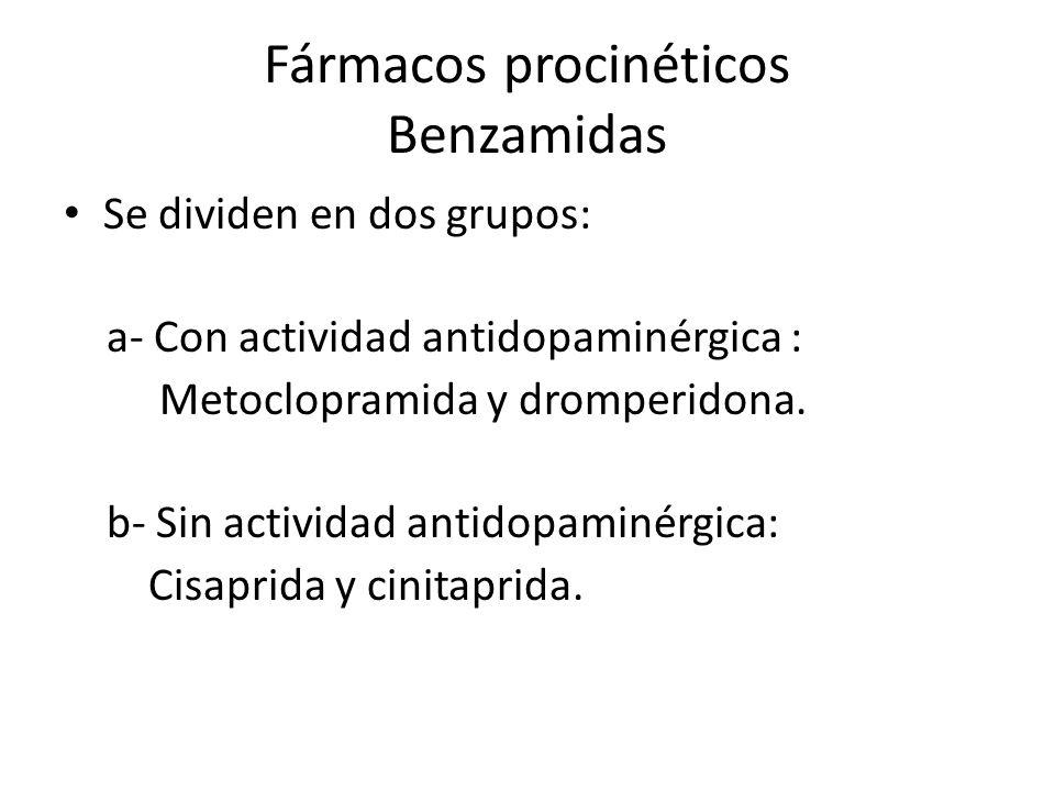 Fármacos procinéticos Benzamidas Se dividen en dos grupos: a- Con actividad antidopaminérgica : Metoclopramida y dromperidona. b- Sin actividad antido