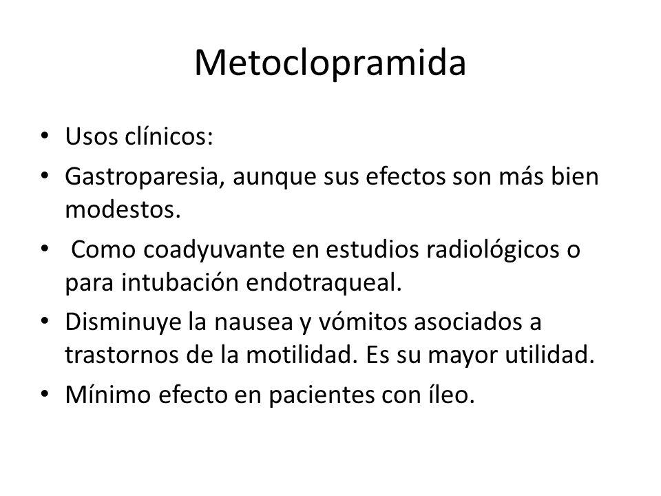 Metoclopramida Usos clínicos: Gastroparesia, aunque sus efectos son más bien modestos. Como coadyuvante en estudios radiológicos o para intubación end